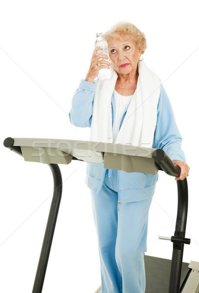 Fitt idős nő izzadt fáradt futópad Stock fotó © lisafx