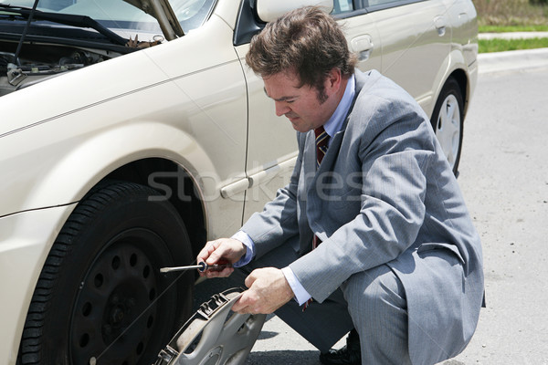 Flat Tire - Remove Hubcap Stock photo © lisafx