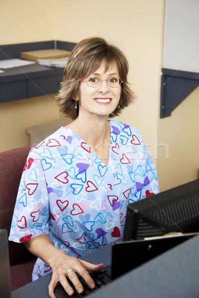 Recepcjonista dość przyjazny lekarza okulary Zdjęcia stock © lisafx