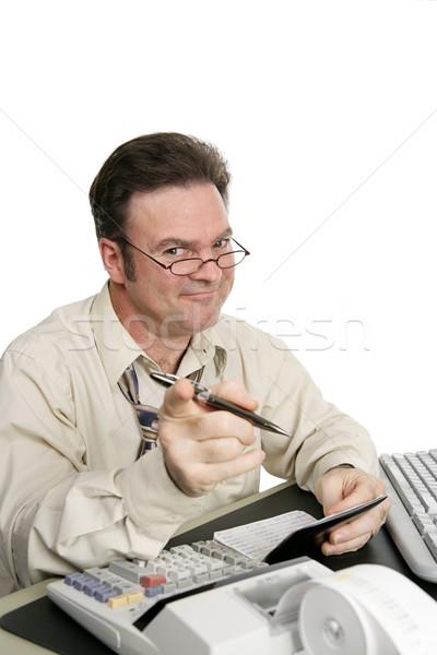 муж чековая книжка указывая жена изолированный Сток-фото © lisafx