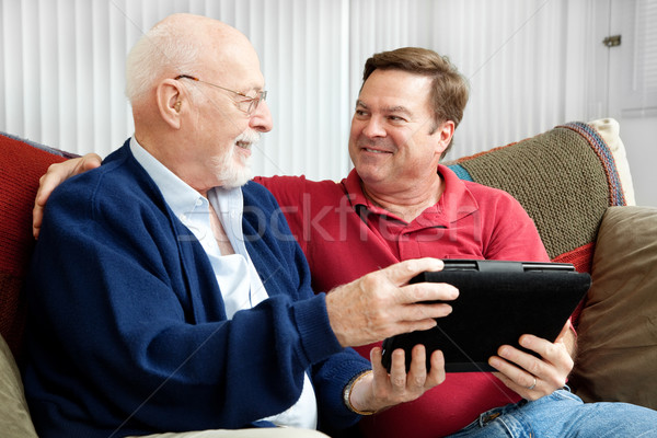 Stockfoto: Vader · zoon · genieten · senior · man · volwassen