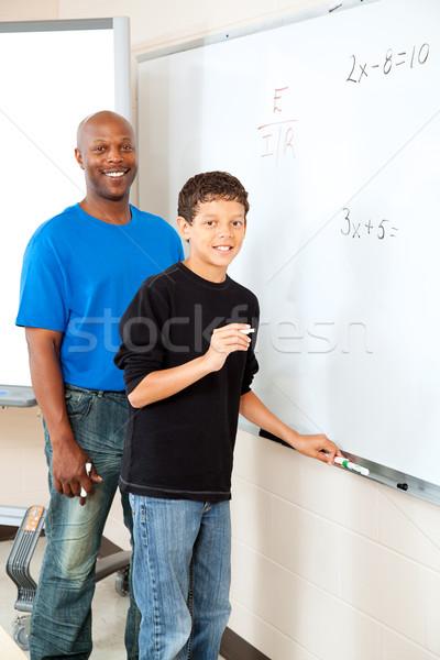 öğretmen öğrenci yakışıklı tahta matematik Stok fotoğraf © lisafx
