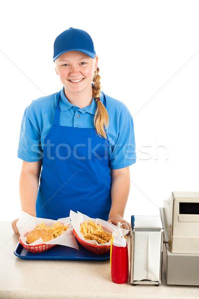 Vriendelijk werknemer restaurant maaltijd fastfood restaurant Stockfoto © lisafx
