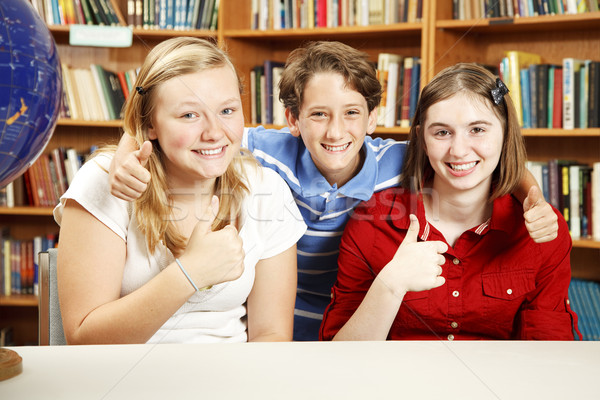 Bildung drei Schule Kinder Bibliothek Stock foto © lisafx