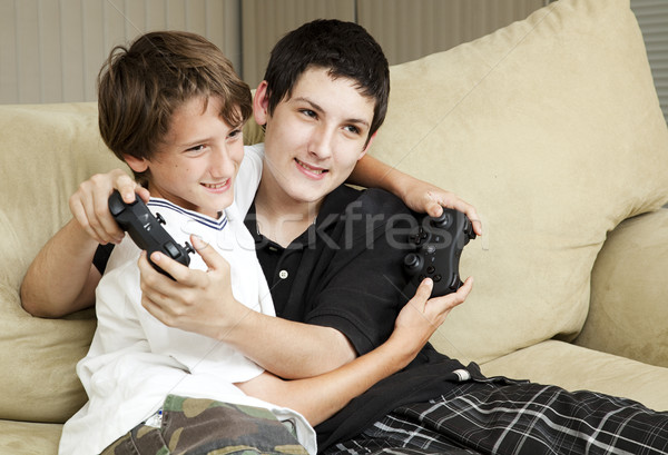Brothers Playing Video Games Stock photo © lisafx