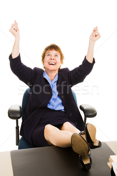 Businesswoman at Desk - Elated Stock photo © lisafx