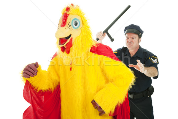 Cop Chasing Chicken Man Stock photo © lisafx