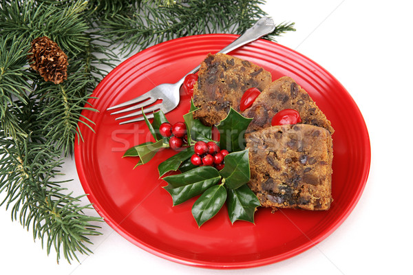 Fruitcake on Red Plate Stock photo © lisafx