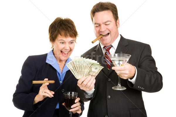 Hebzuchtig cash roken sigaren Stockfoto © lisafx
