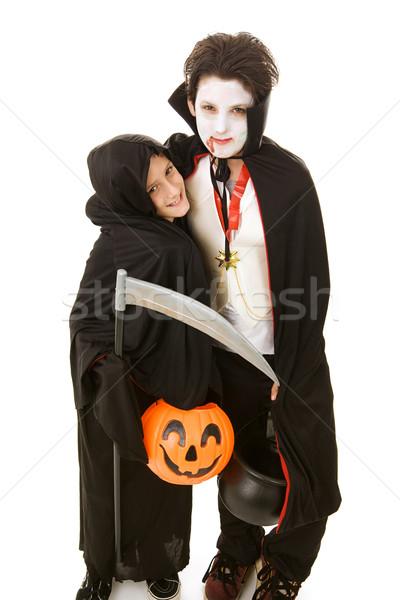 Halloween gyerekek fiútestvérek kettő imádnivaló fiúk Stock fotó © lisafx