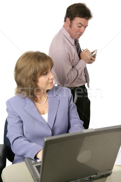Curioso masculino espionagem feminino Foto stock © lisafx
