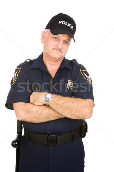 Stok fotoğraf: Polis · memuru · bakıyor · yalıtılmış · beyaz · adam