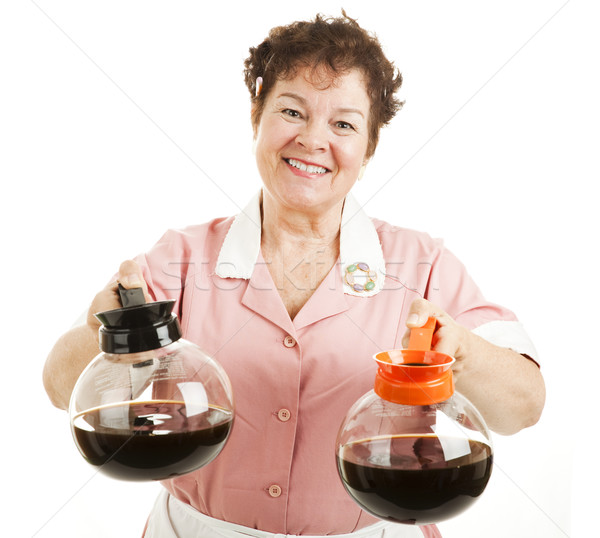 Düzenli kahve dostça gülen garson seçim Stok fotoğraf © lisafx