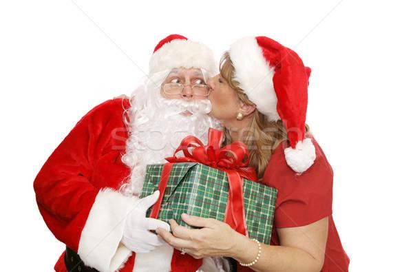 Santas Thank You Kiss Stock photo © lisafx