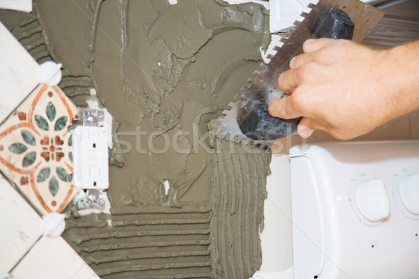 Tile Setter Scores Mortar Stock photo © lisafx