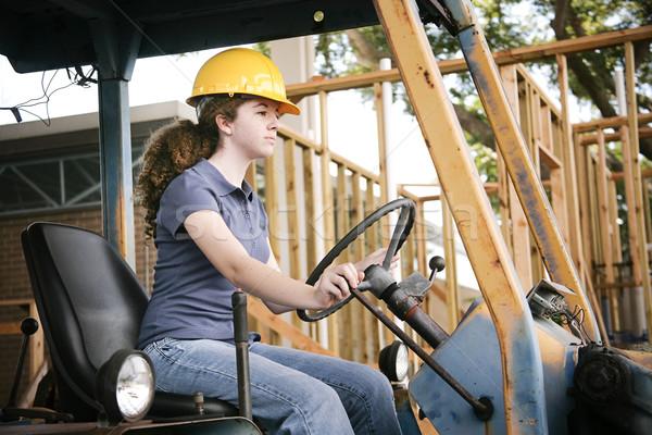 Apprendre à conduire bulldozer jeunes Homme construction apprenti Photo stock © lisafx