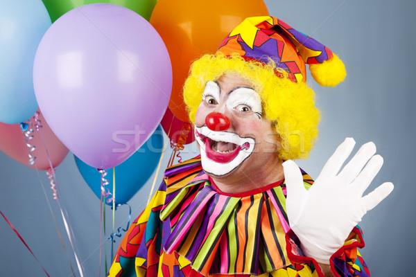 Clown vagues Bonjour heureux hélium ballons Photo stock © lisafx