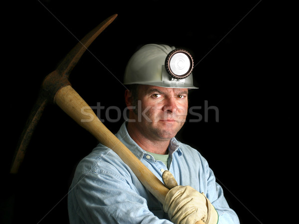 Coal Miner With Pickax - In the Dark Stock photo © lisafx