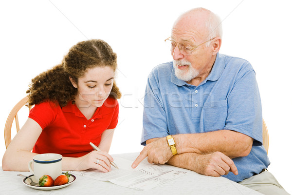 Grandpa Helps Teen Stock photo © lisafx