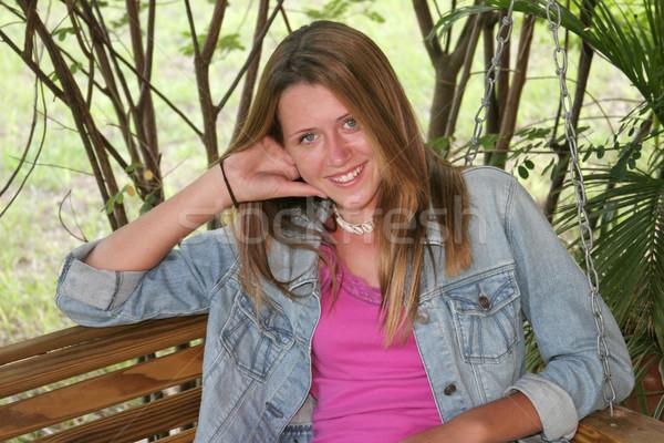Félénk lány hinta gyönyörű tinilány veranda Stock fotó © lisafx