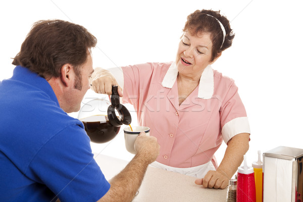 Waitress Gives Coffee Refill Stock photo © lisafx