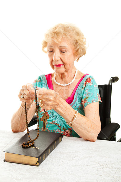 Catholic Grandmother Prays the Rosary Stock photo © lisafx
