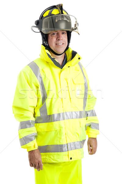 Handsome Firefighter on White Stock photo © lisafx