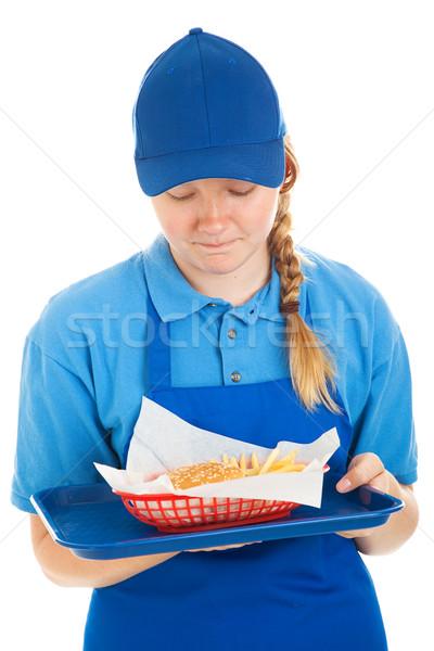 Walgelijk fast food maaltijd werknemer hamburger Stockfoto © lisafx