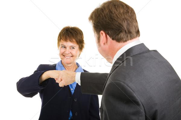 Stock fotó: üzleti · csapat · ököl · dudorodás · érett · üzletasszony · férfi