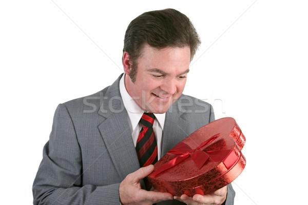 Stock fotó: Férfi · külső · szív · jóképű · férfi · öltöny · néz