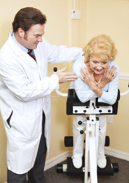 Fysiotherapie Romeinse stoel chiropraxie patiënt arts Stockfoto © lisafx