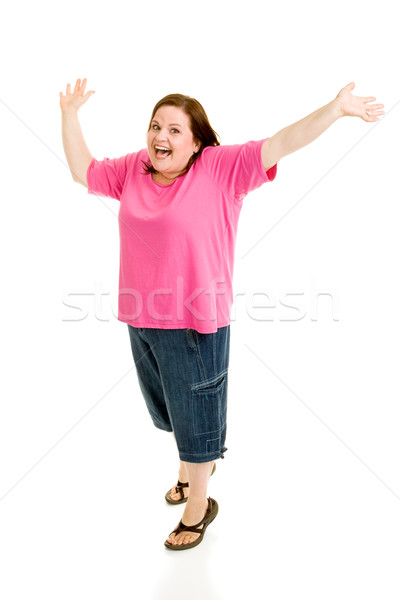 Plus Sized Model - Jump For Joy Stock photo © lisafx