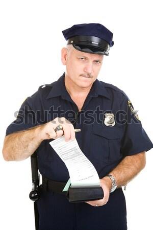 Сток-фото: полицейский · стоянки · билета · заполнение · из · изолированный