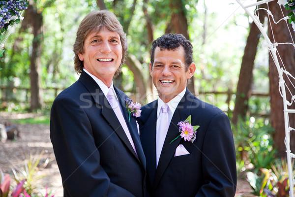 Handsome Gay Wedding Couple Stock photo © lisafx