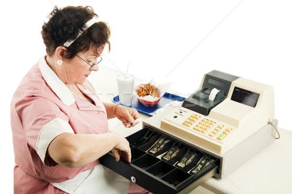 Kassier verandering fastfood restaurant kassa witte Stockfoto © lisafx