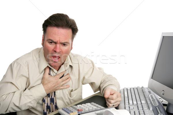 Rood man hartaanval kantoor geïsoleerd witte Stockfoto © lisafx