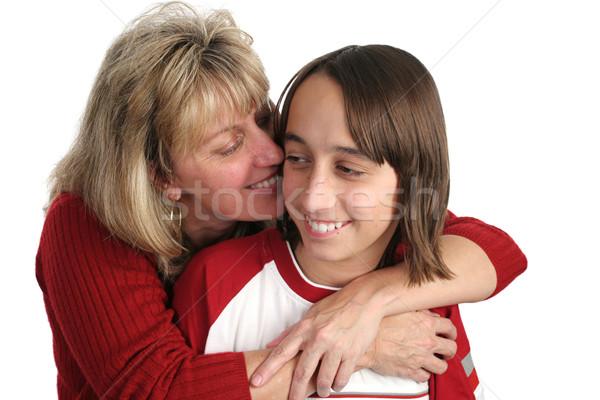 Mãe filho abraço adolescente isolado Foto stock © lisafx