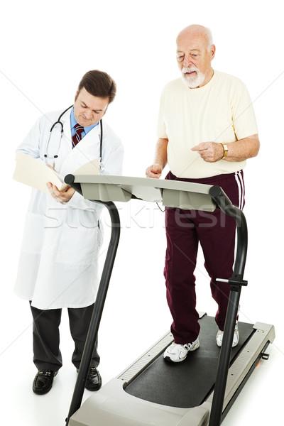старший человека осуществлять бегущая дорожка врач Сток-фото © lisafx