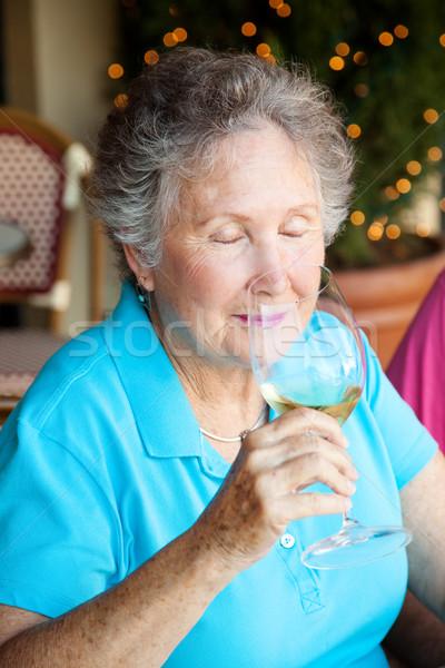 Weinprobe Aroma Senior Frau genießen Duft Stock foto © lisafx