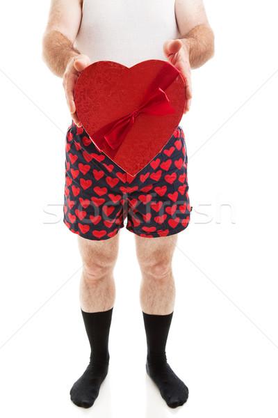 Valentin nap ajándék humoros fotó férfi szív Stock fotó © lisafx