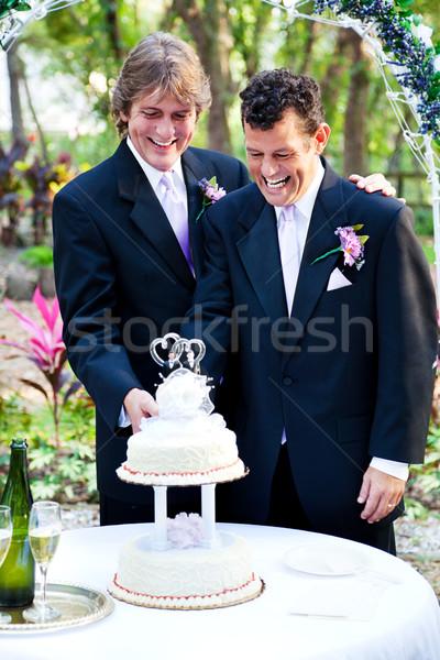 Grooms Cut the Wedding Cake Stock photo © lisafx