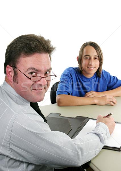 Foto stock: Conselheiro · estudante · vertical · escolas · negócio · educação