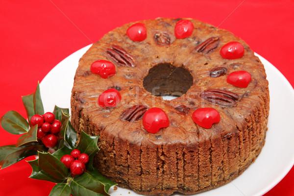 Holiday Fruitcake on Red Stock photo © lisafx