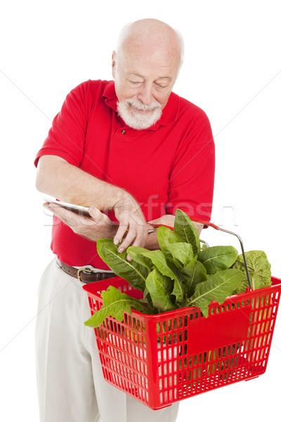 Stock fotó: Idős · vásárló · kosár · férfi · élelmiszer · vásárlás