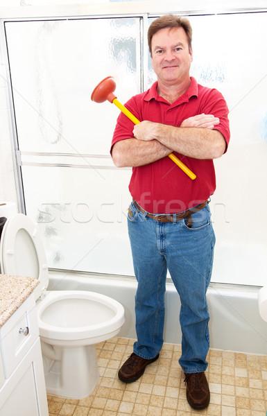 Vízvezetékszerelő fürdőszoba háztulajdonos tart áll modern Stock fotó © lisafx