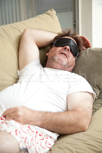 Lazy Man Asleep on Couch Stock photo © lisafx