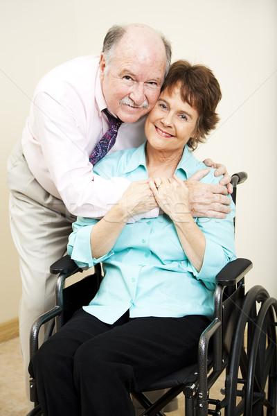 Mozgássérült nő szerető férj támogató feleség Stock fotó © lisafx