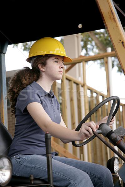 Női felszerlés kezelő építőmunkás vezetés nehézgépek Stock fotó © lisafx