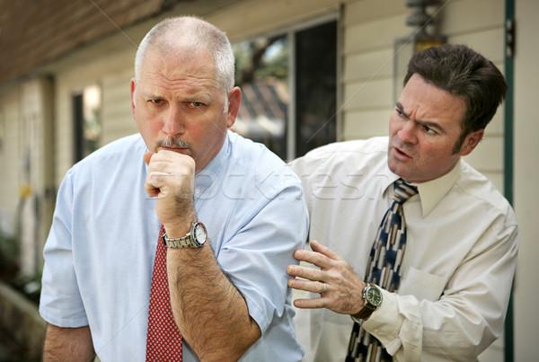 Volwassen man Maakt een reservekopie volwassen zakenman hoesten bezorgd Stockfoto © lisafx