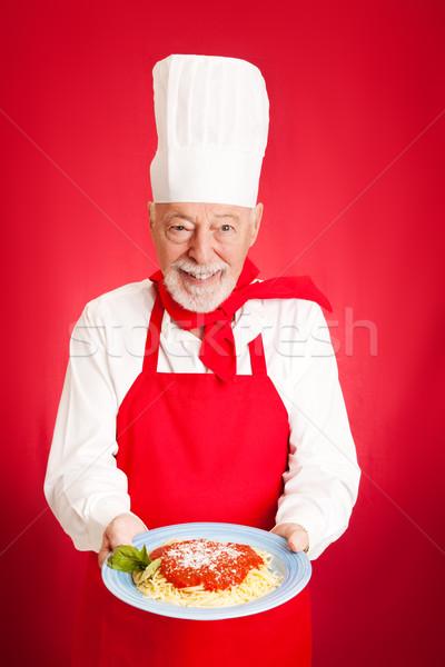 Italian Chef - Spaghetti Marinara Stock photo © lisafx